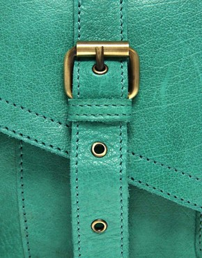 Image 4 ofASOS Leather Twist Lock Vintage Style Satchel