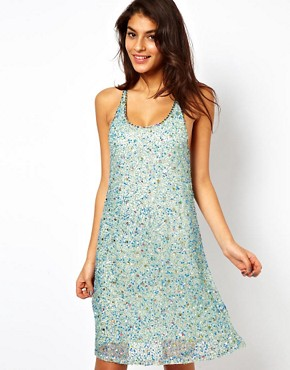 ASOS Cami Swing Dress with Sequins  :  bead embellishment sequin dress