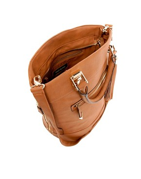 Image 2 ofRiver Island Tan Tassel Bucket Bag