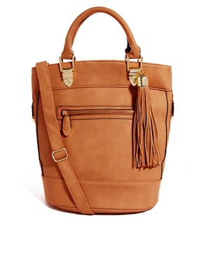 Image 1 ofRiver Island Tan Tassel Bucket Bag