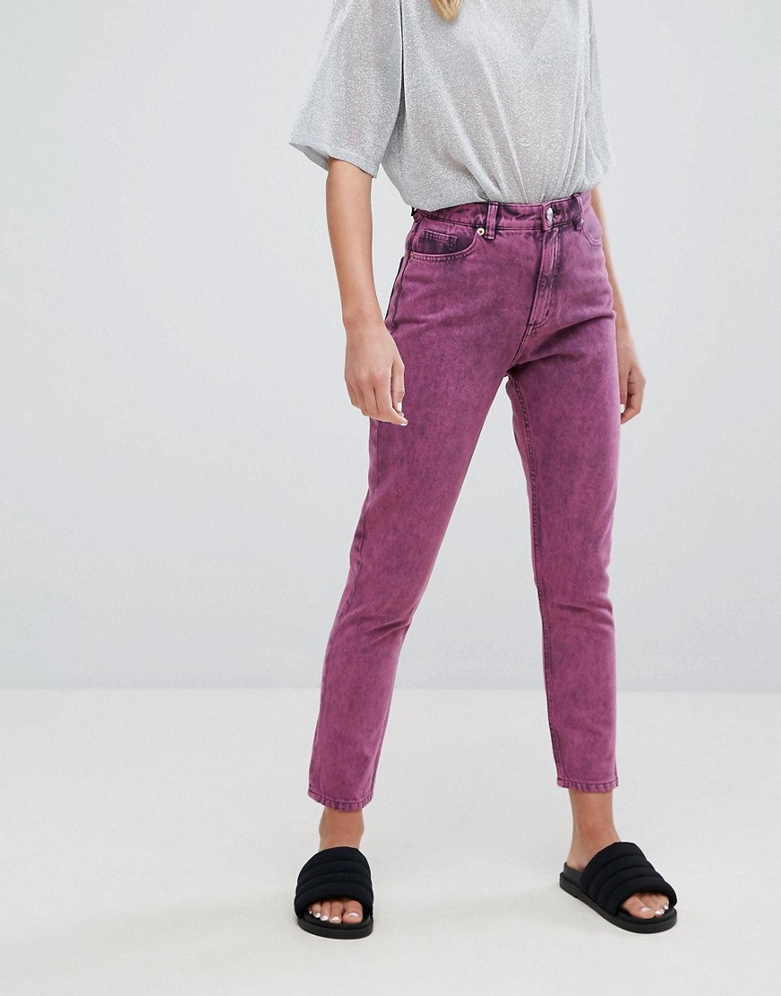 Monki Acid Wash Kimomo Mom Jeans - Pink
