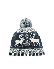 ASOS Navy Stag Bobble Beanie