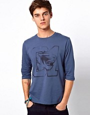 ASOS 3/4 Sleeve T-Shirt With Varsity Tiger Print