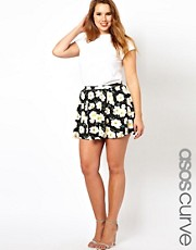 ASOS CURVE Skater Skirt In Pansy Print