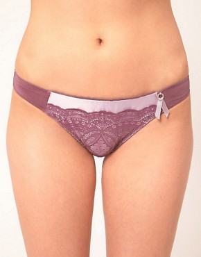 6ixty 8ight Wine Micro Satin Lace Brief