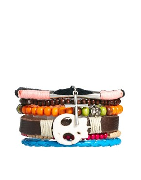 Image 1 ofRiver Island Skull Bracelet Pack