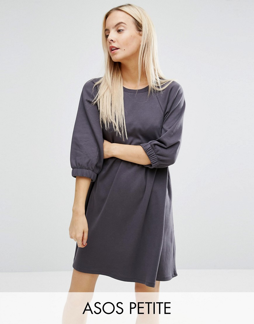 ASOS PETITE Cotton Smock Dress with Elastic Cuff Detail - Gray