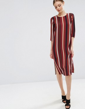 ASOS Column Midi T-shirt Dress in Stripe