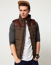 Minimum Tweed Gilet With Leather Patches