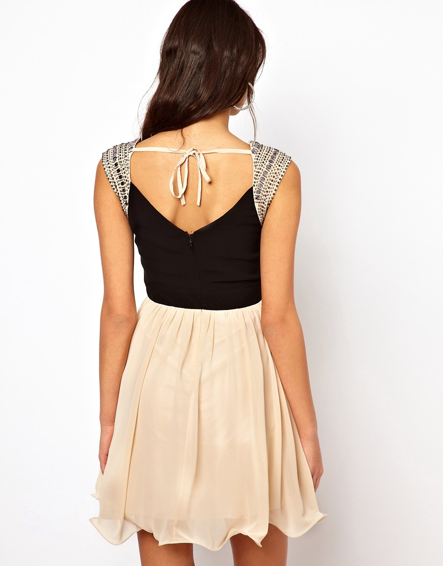 Image 2 of Little Mistress Embellished Shoulder Prom Dress