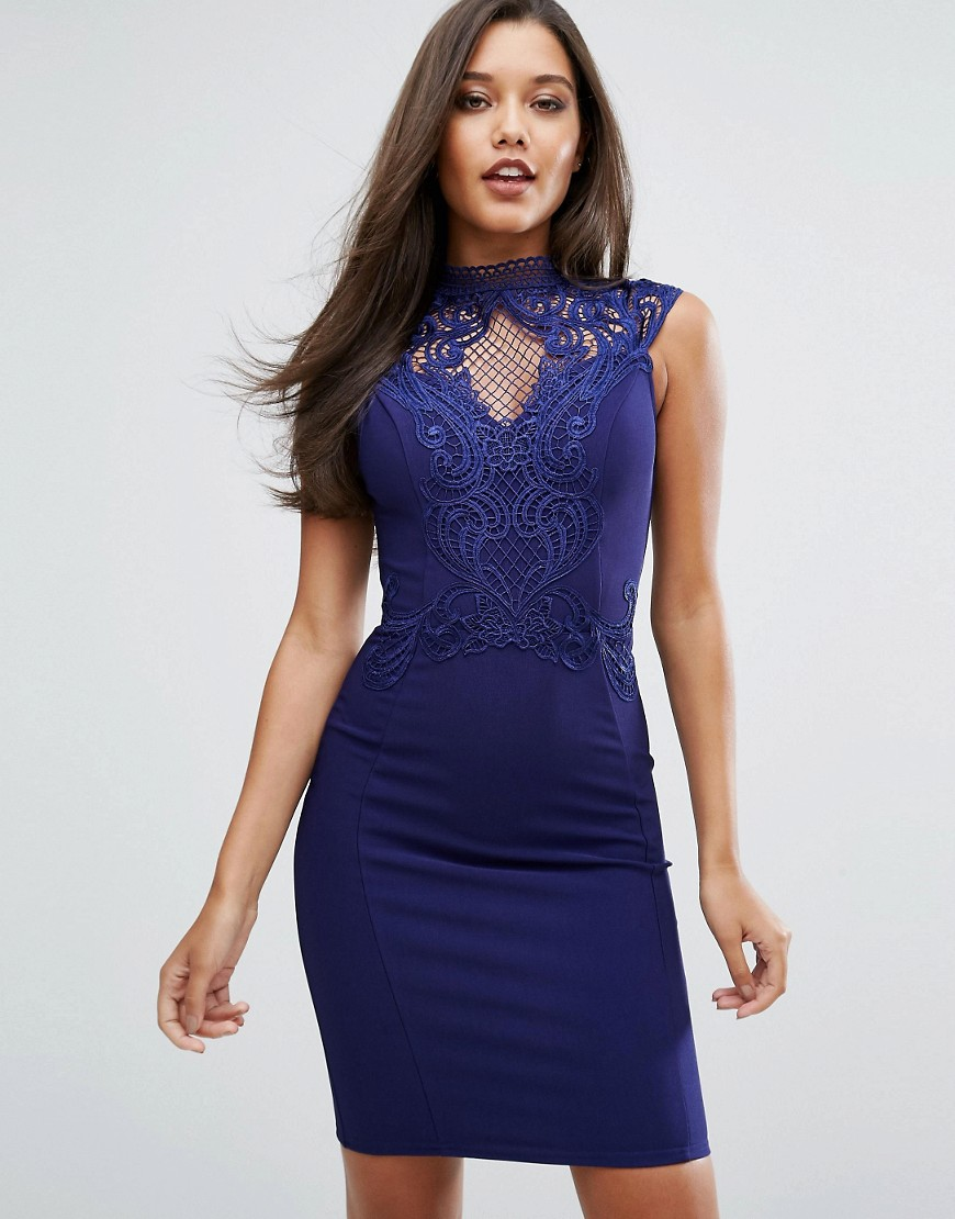 Michelle Keegan Loves Lipsy High Neck Embroidered Lace Bodycon Dress - Navy