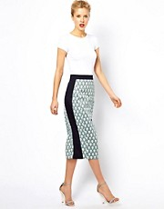 ASOS Pencil Skirt in Print with Contrast Panels