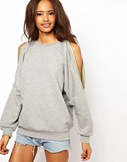 ASOS Sweatshirt with Zip Cold Shoulder