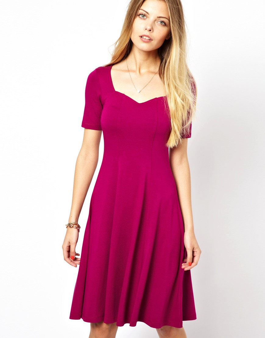Image 2 of ASOS Skater Dress With Sweetheart Neck And Short Sleeves.