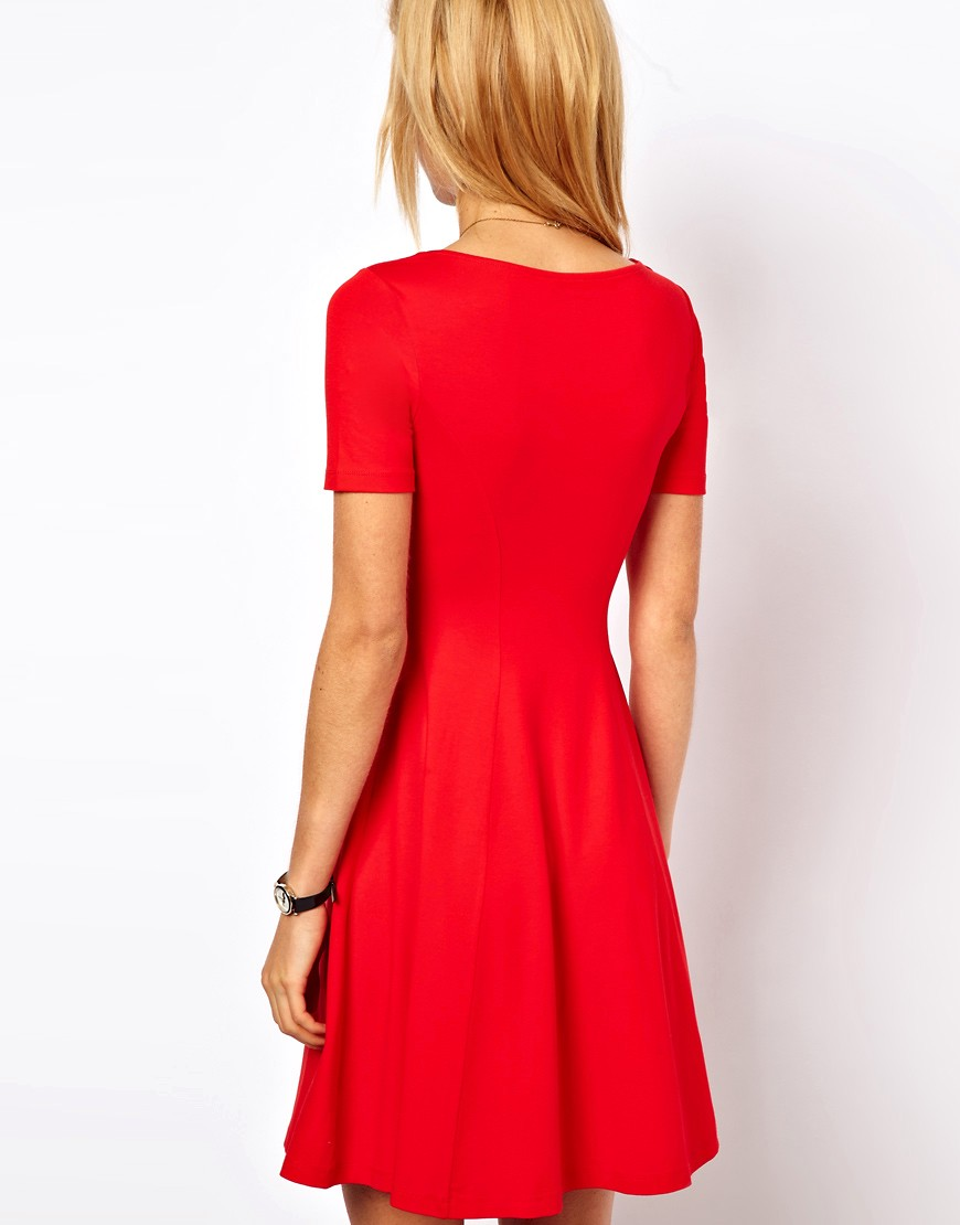 Image 3 of ASOS Skater Dress With Sweetheart Neck And Short Sleeves.