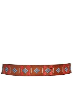 Image 2 ofMango Leather Embroidered Belt