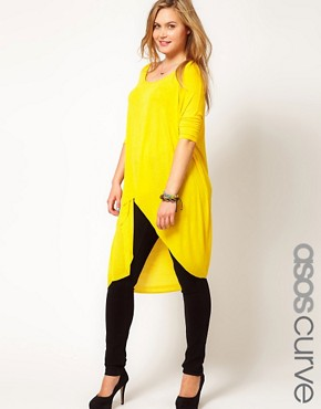 Image 1 ofASOS CURVE Exclusive Jersey Top With Dip Back