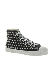 Gienchi Canvas Studded High Top Trainers