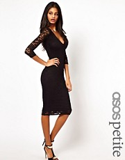 ASOS PETITE Midi Bodycon Dress In Lace With V Neck