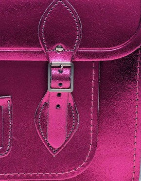 Image 2 ofCambridge Satchel Company Exclusive To Asos 14&quot; Pink Metallic Satchel