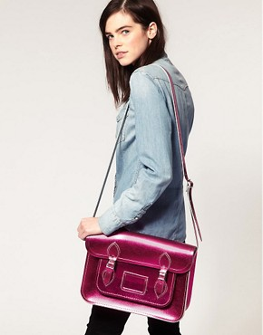 Image 3 ofCambridge Satchel Company Exclusive To Asos 14&quot; Pink Metallic Satchel