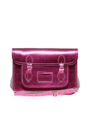 Image 1 ofCambridge Satchel Company Exclusive To Asos 14&quot; Pink Metallic Satchel