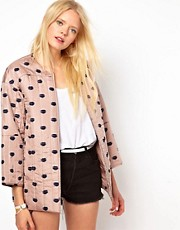 Baum und Pferdgarten Silk Bomber Jacket in Lips Print