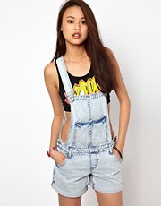 River Island Short Acid Wash Dungarees