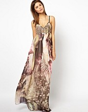 Diesel Printed Maxi Dress With Woven Top