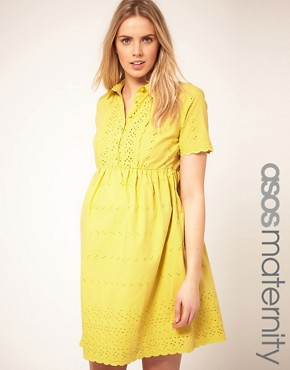 Image 1 ofASOS Maternity Shirt Dress With Embroidery