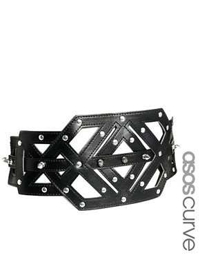 Image 1 ofASOS CURVE Cut Out And Stud Wide Waist Belt