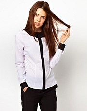 ASOS Shirt With Folded Collar In Monochrome Blocking