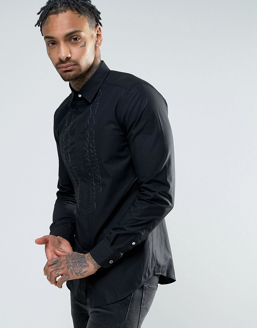 Diesel S-LUCIA Embriodered Ruffle Slim Fit Shirt - Black