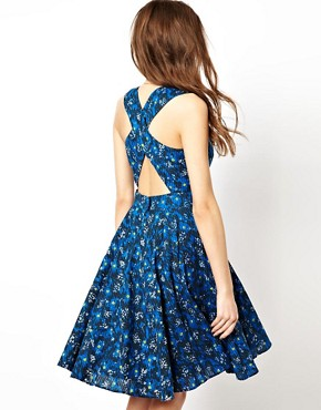 Image 1 ofFrench Connection Skater Dress With Open Back