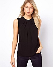 ASOS Sleeveless Top with Pleat Neck and Keyhole