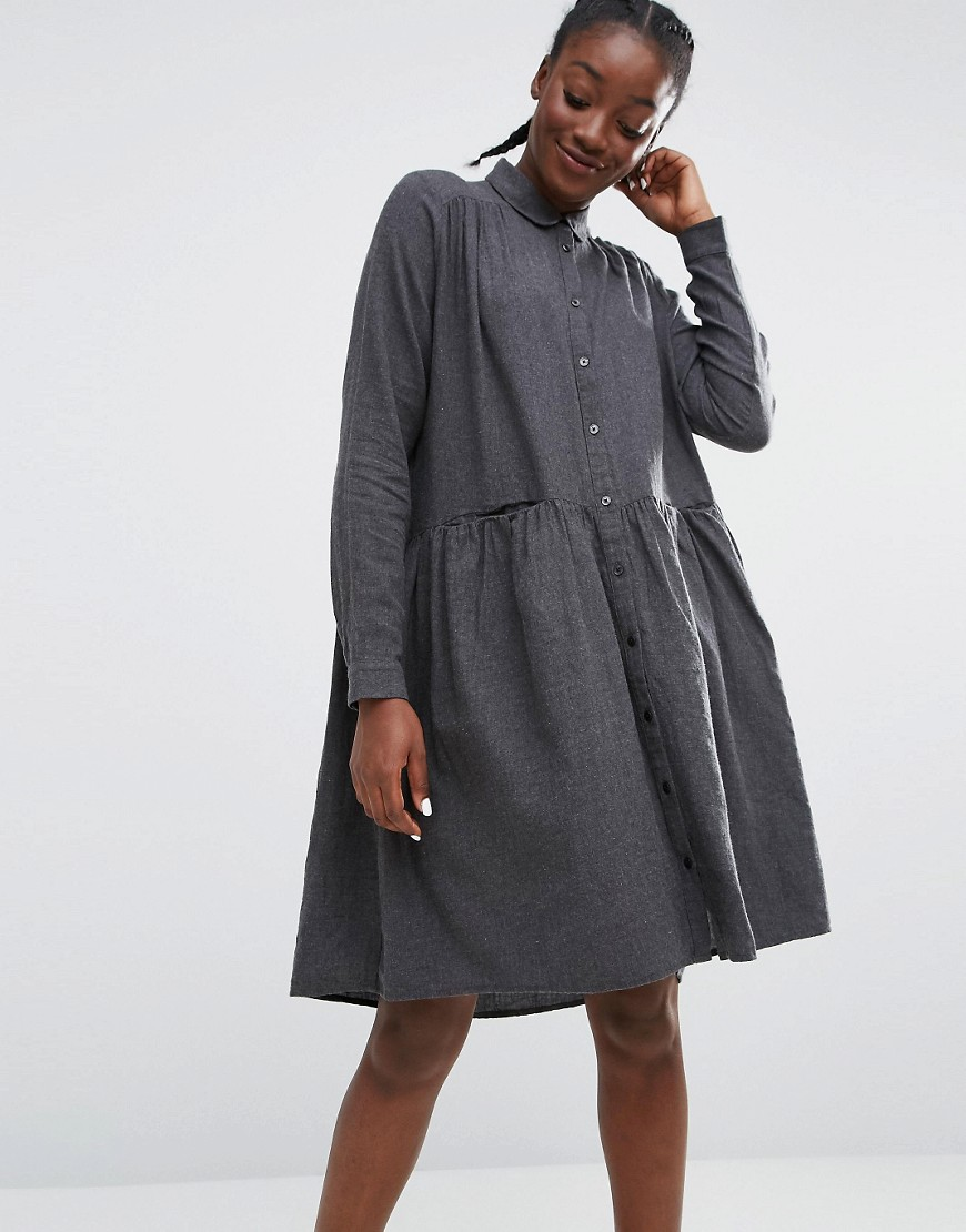Monki Smock Dress - Gray