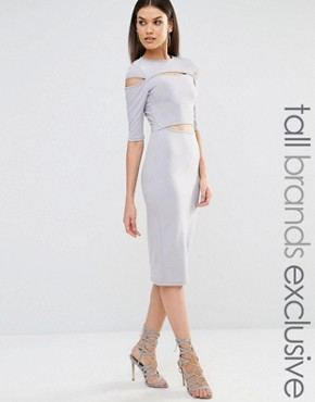 Naanaa Tall Cut Out Detail 3/4 Length Sleeve Pencil Dress