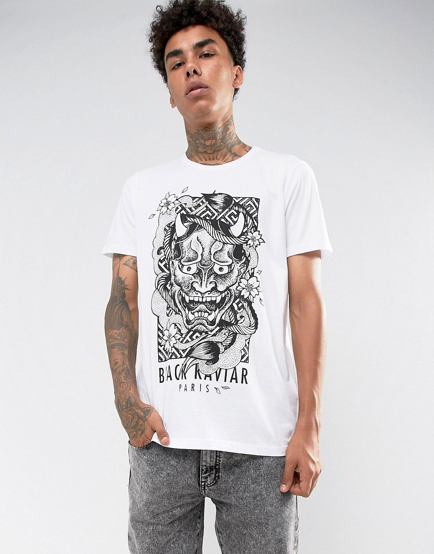 Black Kaviar T-Shirt In White With Monster Print - White