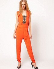 Kore by Sophia Kokosalaki Flower Motif Trim Jumpsuit