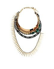ASOS Multirow Gem &amp; Spike Torque Necklace