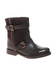 ASOS ABSENCE Leather Biker Boots