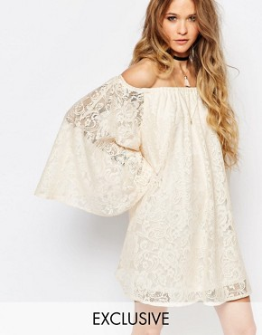 Reclaimed Vintage Off Shoulder Dress With Flute Sleeves In Nude Lace