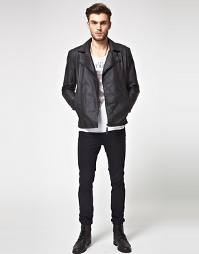Image 4 ofASOS Leather Biker