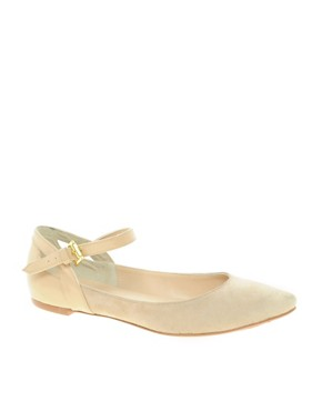 Image 1 ofDune Lexus Suede Strap Ballet Flats