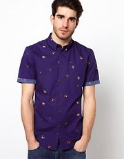 Farah Vintage Shirt with Fish Hooks Print