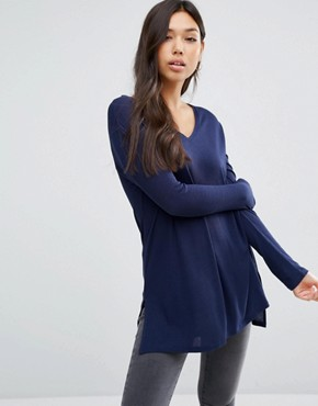 ASOS Top With V Neck In Slouchy Rib