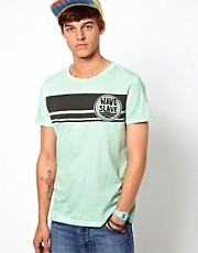 ASOS T-Shirt With Surf Print And Pigment Wash