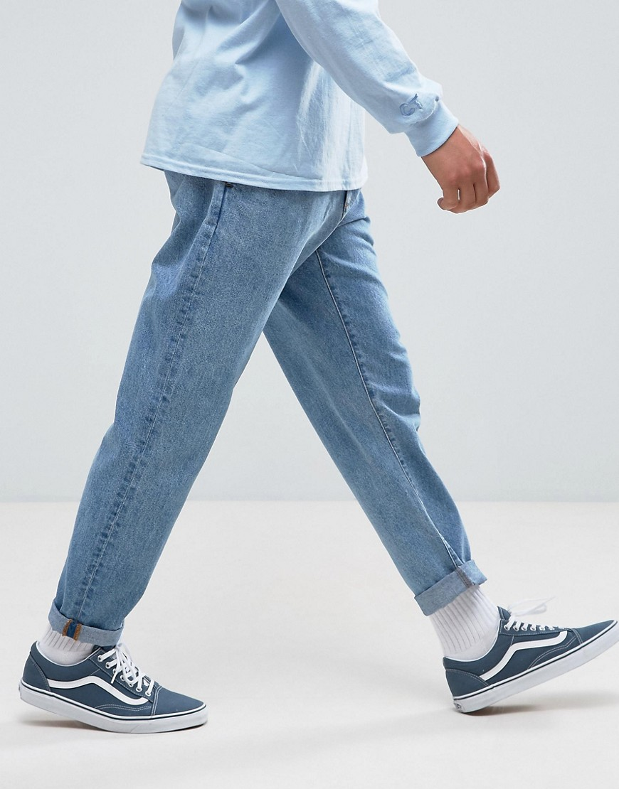 ASOS Double Pleated Jeans In Mid Wash Blue - Mid wash blue