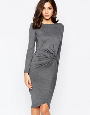 Warehouse Long Sleeve Knot Detail Dress