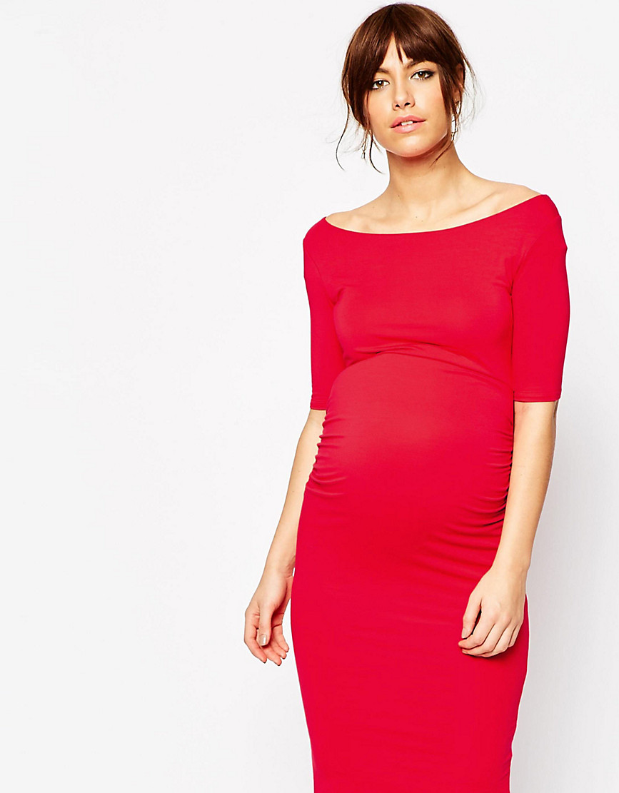 ASOS Maternity PETITE Bardot Dress With Half Sleeve - Red